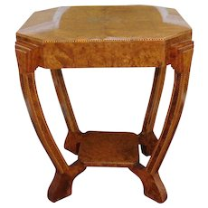 Antique European Inlaid Burl Elm Biedermeier Octagonal Occasional Table c1900