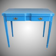 Painted Light Blue 1950s Flip Top Console Dining Room Table