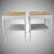 Pair Painted White Provincial Marble Top Living Room End Tables c1950s