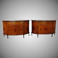 Very Fine Pair Restored George III Style Inlaid Satinwood Demilune Commode Cabinets c1990s
