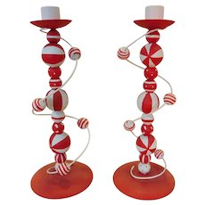 Funky Pair Hand Made & Painted Red White Spherical Candlesticks
