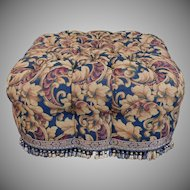 Great Wesley Hall Tufted Upholstered Living Room Ottoman Pouf 1990s