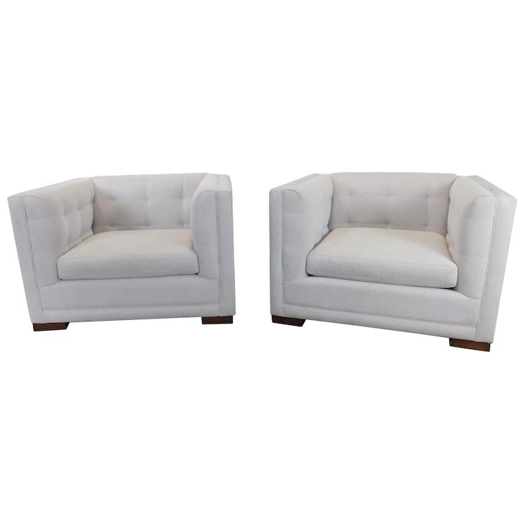 Very Nice Pair Crate Barrel Tufted Upholstered Cube Chairs