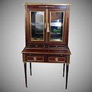 Antique English Brass Inlaid Regency Mahogany Writing Desk c1880