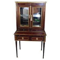 Antique English Brass Inlaid Regency Mahogany Writing Desk c1880