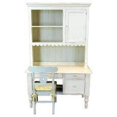 Bradshaw Kirchofer White Hand Crafted Sweat Pea Desk w/ Scalloped Hutch & Chair