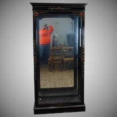 Black Lacquered Floral Painted Lighted Display Curio Cabinet 1980s