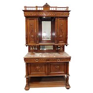 Antique Carved Walnut French Renaissance Hunt Board Marble Top Dining Room Buffet w/ Hutch Top