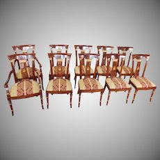 Set 10 Imported Inlaid Mahogany & Gold Italian Regency Style Dining Room Chairs c1990s