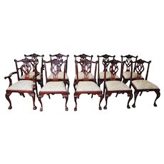 Set 10 Mahogany Chippendale Style Dining Room Chairs 1990s