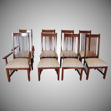 Set 8 1990s Arts & Crafts ~ Mission Style Dining Room Chairs