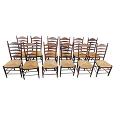 Set 12 1990s Maple Hardwood Rush Seated Country Ladder Back Dining Room Chairs