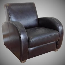French Art-Deco Style Leather Upholstered Library Armchair c1990s