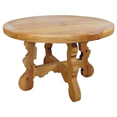 """Rustic & Primitive 48"""" Round Knotty Pine Tavern Dining Room Table 1980s"""
