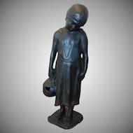 """Vintage 1980s Bronze Statue Of Child Maiden w/ Water Jug ~ 40"""" high"""