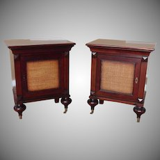 Pair Grange Furniture French Indochine Asian Influenced Nightstand Tables