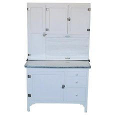 Antique Sellers Restored Painted White Hoosier Kitchen Cabinet c1890