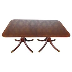 Baker Furniture Historic Charleston Banded Mahogany Pedestal Dining Room Table