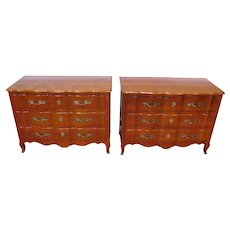 Fine Pair 1960s Cherry French Provincial John Widdicomb Co. Louis XV Style 3 Drawer Bedroom Chests