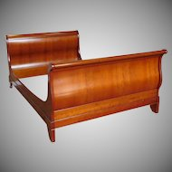 Grange Furniture French Louis Philippe Style Cherry 4/6 Full Size Sleigh Bed 1990s