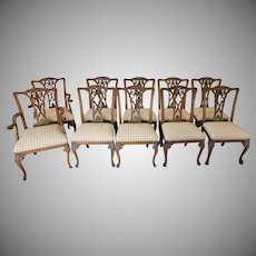 Set 10 Ornate Carved Ribbon Back Mahogany Chippendale Style Dining Room Chairs c1980s