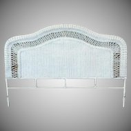 King Size Aluminum Frame & White Wicker Headboard
