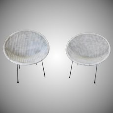 Pair Vintage Mid Century  Retro Atomic Wicker Saucer Clamshell Sputnik Chairs c1950