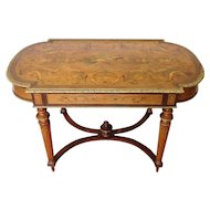 Mid 20th Century Renaissance Revival Style Walnut w/ Brass Edging French Inlaid Center Table
