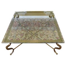 Square Glass Top Contemporary Cocktail Coffee Table w/ Heavy Brass Base 42 X 42 X 18 1/4 c1980s