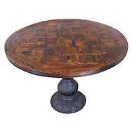 Hand Hewn Sectional Parquet Oak Top Round Kitchen Dining Table w/ Cast Iron Base