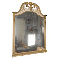 Great 1930s Chippendale Style Painted White & Gilded Hanging Bedroom Wall Mirror