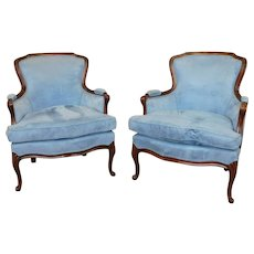 Pair 1960s French Provincial Louis XV Style Blue Upholstered Living Room Chairs