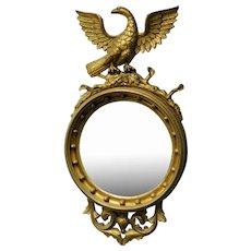 Antique American Federal Style Round Convex Bullseye Mirror w/ Eagle c1900