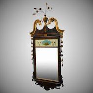 Very Fine 20th Century Reproduction Inlaid Mahogany Federal Style Reverse Painted Hanging Wall Mirror