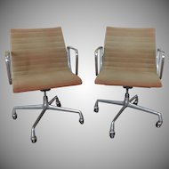 Pair Early Eero Saarinen ~ Eames For Herman Miller Aluminum Group Management Armchairs