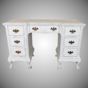 1940s Queen Anne Mahogany Painted Distressed White Writing Desk ~ Bedroom Vanity