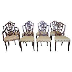 Set 8 Mahogany Hickory Chair Co Hepplewhite Style Shield Back Dining Room Chairs