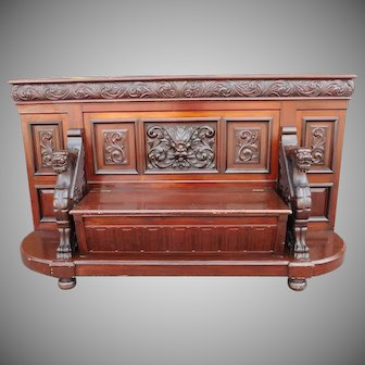 Antique Mahogany RJ Horner Style Victorian Renaissance Revival Griffin & Green Man Ornately Carved Hallway Bench