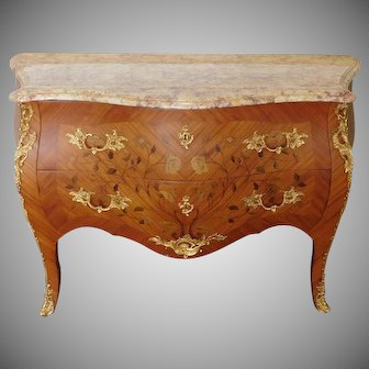 French Louis XVI Inlaid Boxwood Marble Top Ormolu Mounted 2 Drawer Commode c1970s