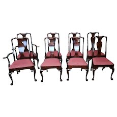 Set 8 1990s Solid Mahogany Stickley Furniture Queen Anne Dining Room Chairs