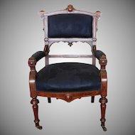 Antique Burl Walnut Victorian Renaissance Revival Library Armchair c1880s