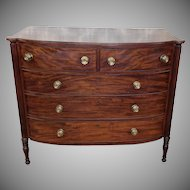 Antique American Federal Sheraton Style Cookie Corner Mahogany Chest Of Drawers c1820