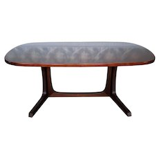 Danish Modern Dark Rosewood Trestle Style Dining Room Table w/ 2 Leaves 1970s