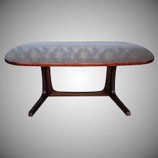 Danish Modern Dark Rosewood Trestle Style Dining Room Table w/ 2 Leaves 1970s