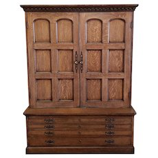 Bench Made Solid Oak English Country Style Shop Cabinet Cupboard 1980s