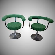 Pair 1950s Vintage Mid-Century Modern Aluminum Tulip Base Swivel Armchairs