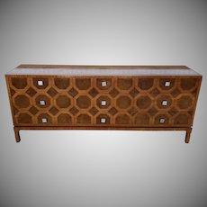 Mid Century Walnut Romweber Furniture 9 Drawer Triple Dresser c1960s
