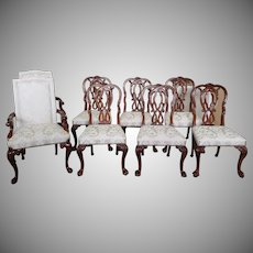 Set Of 8 High Top Tier Karges Furniture Mahogany Chippendale Dining Room Chairs Model #4930 ~ #4935