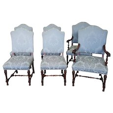 Set 6 Antique 1920s Walnut Renaissance Style Dining Room Chairs