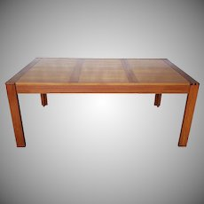 Danish Modern Unusual Dyrlund Furniture Parson's Style Teak Dining Room Table w/ 2 Leaves c1970s
